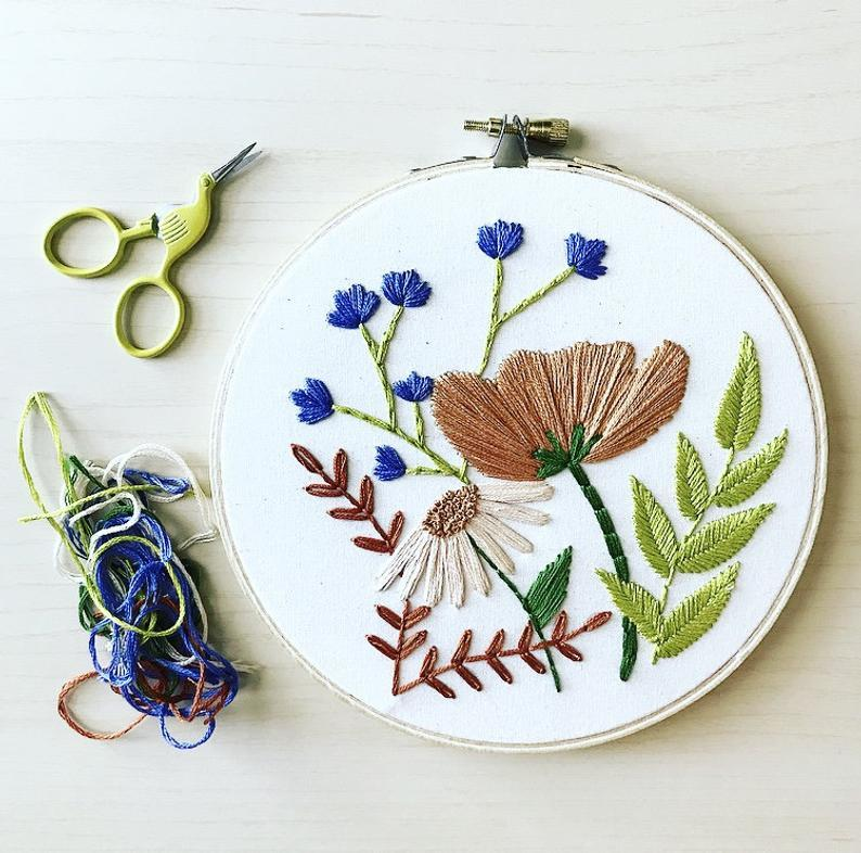 "<br><br><strong>MountainsofThread</strong> Embroidery Kit - Floral Pattern, $, available at <a href=""https://go.skimresources.com/?id=30283X879131&url=https%3A%2F%2Fwww.etsy.com%2Flisting%2F725707975%2Fembroidery-kit-floral-pattern-floral-kit"" rel=""nofollow noopener"" target=""_blank"" data-ylk=""slk:Etsy"" class=""link rapid-noclick-resp"">Etsy</a>"