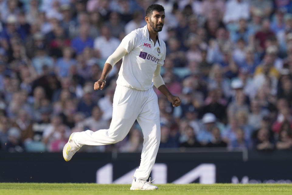 India's Jasprit Bumrah celebrates after taking the wicket of England's Rory Burns clean bowled on the first day of the 4th cricket Test between England and India at The Oval cricket ground in London, Thursday, Sept. 2, 2021. (AP Photo/Kirsty Wigglesworth)