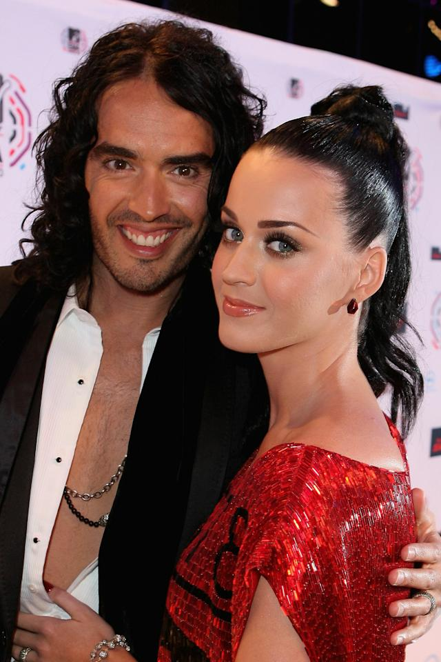 MADRID, SPAIN - NOVEMBER 07:  Katy Perry and Russell Brand attend the MTV Europe Awards 2010 at the La Caja Magica on November 7, 2010 in Madrid, Spain.  (Photo by Dave J Hogan/Getty Images)