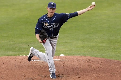 Tampa Bay Rays starting Pitcher Ryan Yardrough throws to Toronto Blue Jays' Cavan Biggio during the first inning of a baseball game, Saturday, Aug. 15, 2020, in Buffalo, N.Y. (AP Photo/Jeffrey T. Barnes)