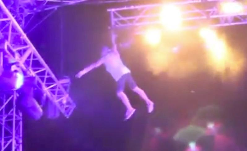 Festival daredevil in fall from stage tower