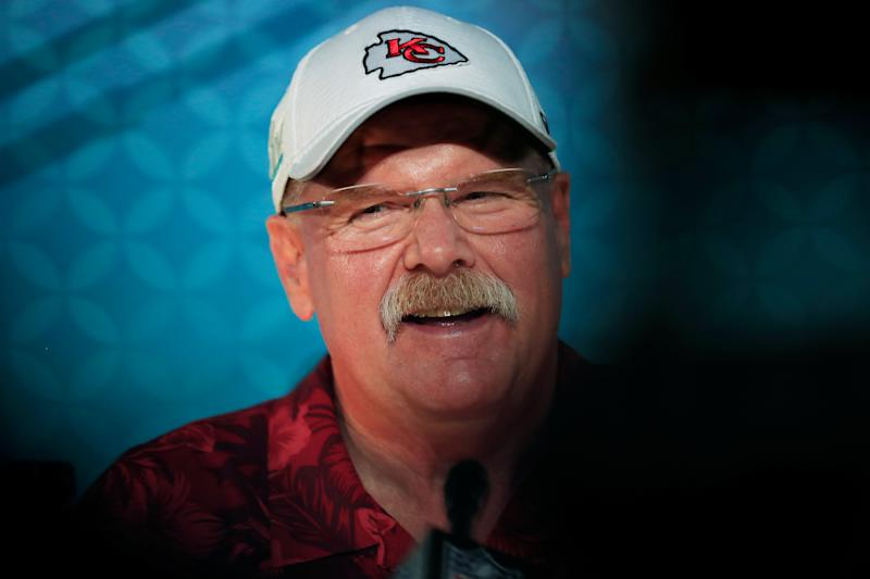 Chiefs coach Andy Reid speaks to the media during Super Bowl Opening Night. (Photo by Cliff Hawkins/Getty Images)