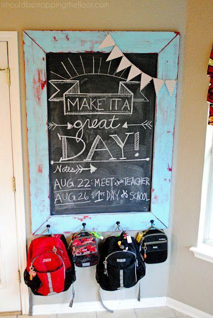 """<p>Want to keep backpacks off of the floor but still in a place where your kids can find them? Make this chalkboard backpack hanger, which can also be used to leave your family cute messages or important reminders. </p><p><strong><em><a href=""""https://www.ishouldbemoppingthefloor.com/2013/07/diy-chalkboard-backpack-station-200.html"""" rel=""""nofollow noopener"""" target=""""_blank"""" data-ylk=""""slk:Get the tutorial at I Should Be Mopping the Floor"""" class=""""link rapid-noclick-resp"""">Get the tutorial at I Should Be Mopping the Floor</a>. </em></strong></p><p><a class=""""link rapid-noclick-resp"""" href=""""https://www.amazon.com/Hanging-Rustic-Mounted-Double-Screws/dp/B08Q4888Y1?tag=syn-yahoo-20&ascsubtag=%5Bartid%7C10070.g.37133630%5Bsrc%7Cyahoo-us"""" rel=""""nofollow noopener"""" target=""""_blank"""" data-ylk=""""slk:SHOP HOOKS"""">SHOP HOOKS</a></p>"""