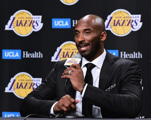 "Kobe Bryant speaks with the media before having his jerseys retired by the <a class=""link rapid-noclick-resp"" href=""/nba/teams/lal/"" data-ylk=""slk:Los Angeles Lakers"">Los Angeles Lakers</a>. (Getty)"