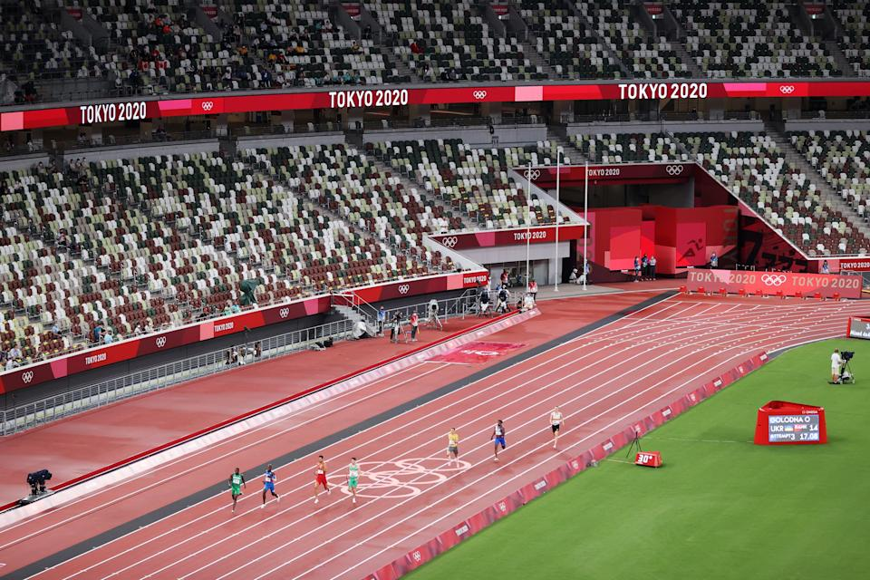 The 4x400 mixed relay at the Olympic Stadium (Getty)