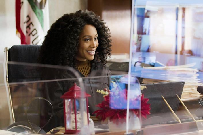 "Simone Missick as Judge Lola Carmichael on ""All Rise."" The drama received praise from some advocates for the way it incorporated this summer's Black Lives Matter protests into its storylines."