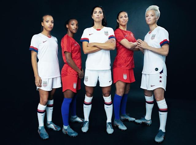 (From left to right) United States women's national team stars Mallory Pugh, Crystal Dunn, Alex Morgan, Carli Lloyd and Megan Rapinoe showcase the new Nike kits that the team will wear during this summer's World Cup in France. (Courtesy Nike/U.S. Soccer)
