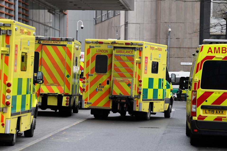 Ambulances are parked outside the Royal London Hospital (AFP via Getty Images)