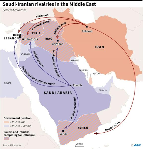 Map of the Middle East showing allies of Saudi Arabia and of its rival, Iran, plus selected countries where Riyadh and Teheran are competing for influence