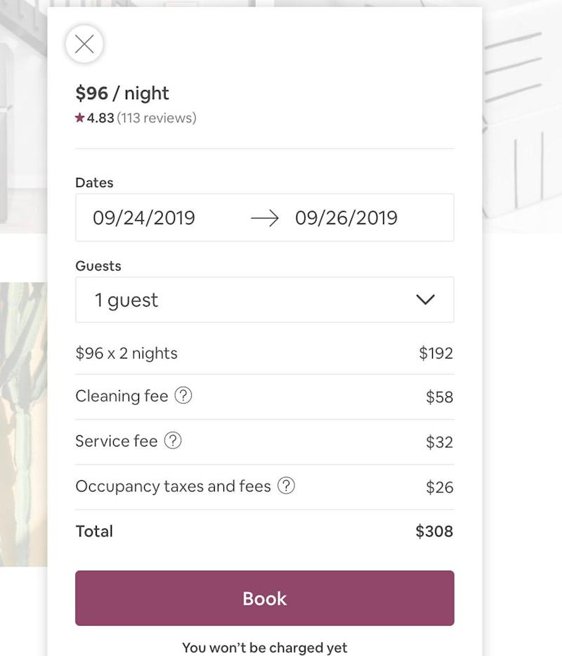 Airbnb fees