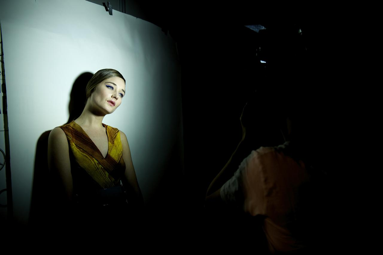 MADRID, SPAIN - FEBRUARY 21:  A model is seen backstage during the Cibeles Madrid Fashion Week autumn/winter 2013 at Ifema on February 21, 2013 in Madrid, Spain.  (Photo by Juan Naharro Gimenez/Getty Images)