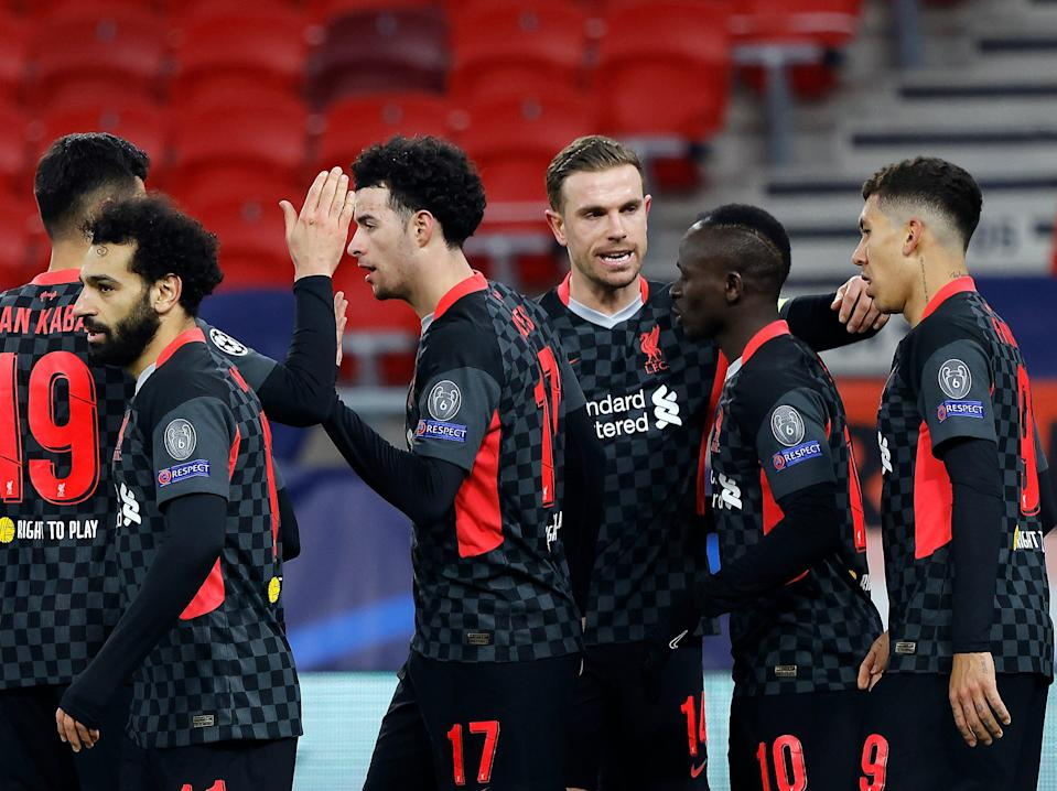 Liverpool captain Jordan Henderson (third right) led his team-mates in posting anti-Super League statementsGetty Images