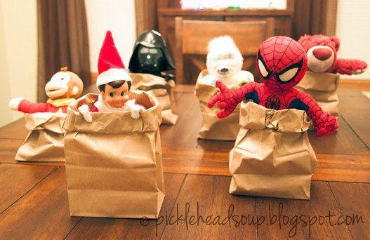 "<p>With a few paper bags, you can set your elf up on a race with the household toys.</p> <p>Source: <a href=""http://4.bp.blogspot.com/-HLVtedITfMQ/UppYIUqhbBI/AAAAAAAAAnc/8as9KpL13VM/s640/_DSC0724.jpg"" target=""_blank"">Blogspot</a></p>"