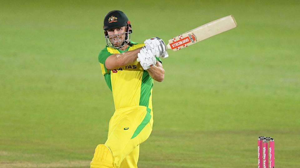 Pictured here, Mitchell Marsh in action for Australia in a T20 match against England.