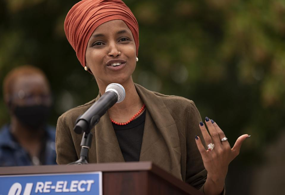 Rep. Ilhan Omar, D-Minn., speaks during a news conference in St. Paul, Minnesota, Aug. 5, 2020. Omar is hoping to retain her seat as the representative for Minnesota's 5th Congressional District.