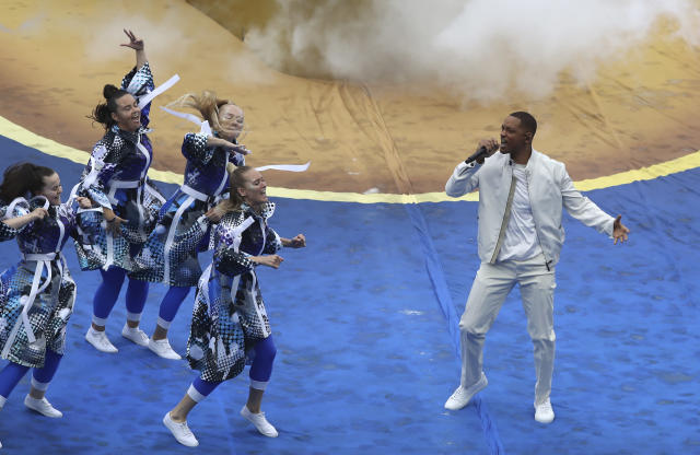 U.S. actor Will Smith performs during a ceremony before the final match between France and Croatia at the 2018 soccer World Cup in the Luzhniki Stadium in Moscow, Russia, Sunday, July 15, 2018. (AP Photo/Thanassis Stavrakis)