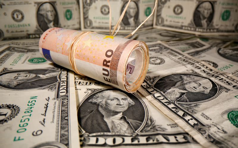 FILE PHOTO: Rolled Euro banknotes are placed on U.S. Dollar banknotes