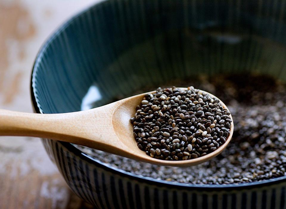 Chia seeds on spoon