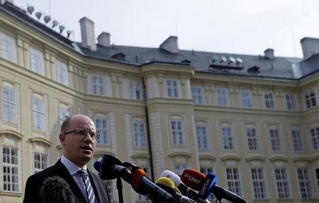Czech PM Sobotka speaks to journalists at Prague Castle in Prague