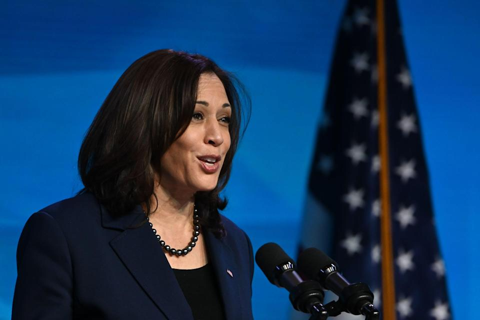 """Vice President-elect Kamala Harris speaking in Wilmington, Del., earlier this month. She is the subject of the new biography, """"Kamala's Way,"""" out Tuesday."""