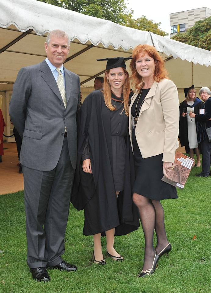 "After gaining plenty of media attention earlier this year for the very eccentric hat she wore to the royal wedding, 23-year-old Princess Beatrice donned a cap of a different kind -- a graduation cap -- when she received her bachelor's degree from Goldsmiths, University of London on Friday. Her parents, Prince Andrew, the Duke of York and Sarah, Duchess of York, who divorced in 1996, both attended the ceremony. WPA Pool/<a href=""http://www.gettyimages.com/"" target=""new"">GettyImages.com</a> - September 9, 2011"