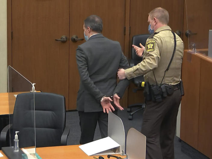 Former Minneapolis police officer Derek Chauvin is taken into custody after he was found guilty on all three counts in his trial for the 2020 death of George Floyd, April 20, 2021, at the Hennepin County Courthouse in Minneapolis. / Credit: Court TV via AP, Pool