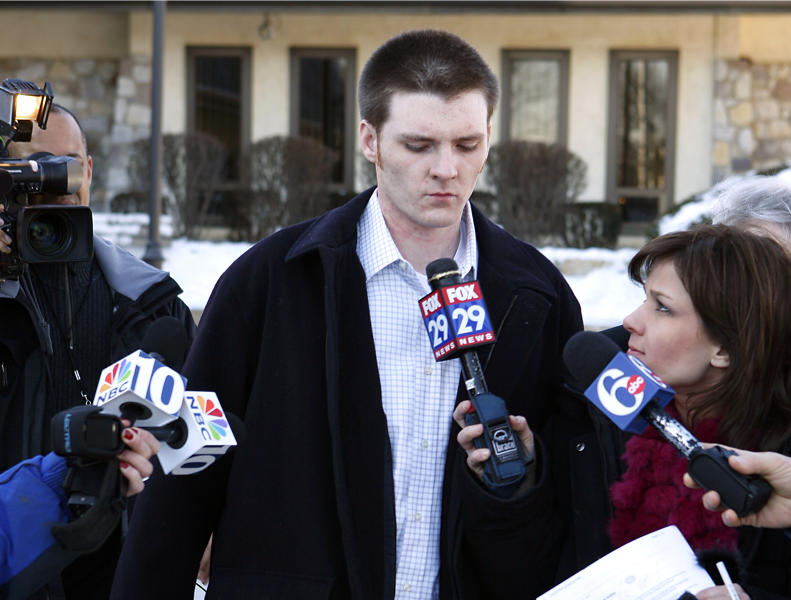 "FILE - In this file photo from Feb. 16, 2007, Garrett Reid, the oldest son of Philadelphia Eagles head coach Andy Reid, leaves the Plymouth Township police station in Plymouth Meeting, Pa., after surrendering to police for 14 misdemeanor and summary offenses. Garrett Reid was found dead Sunday, Aug. 5, 2012, in his room at Eagles training camp at Lehigh University. Police say ""there were no suspicious activities."" (AP Photo/Mark Stehle, File)"