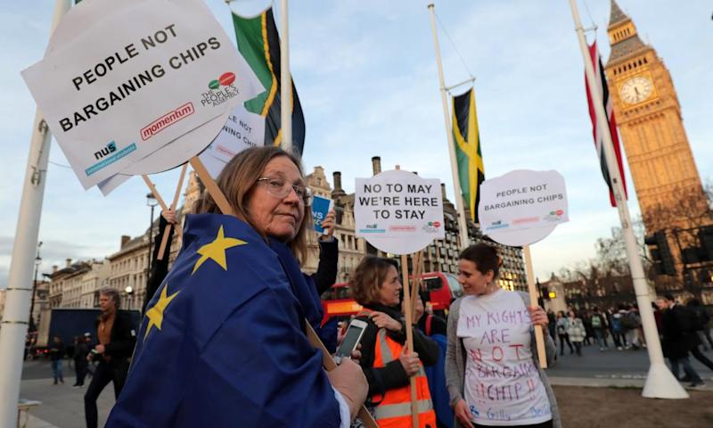 A protest in Parliament Square in London as MPs vote on Lords amendments to the Brexit bill.