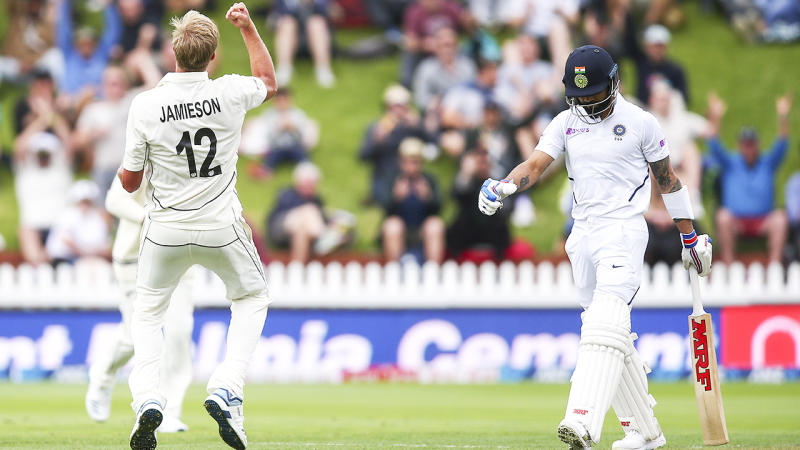 Kyle Jamieson, pictured here celebrating the wicket of Virat Kohli.
