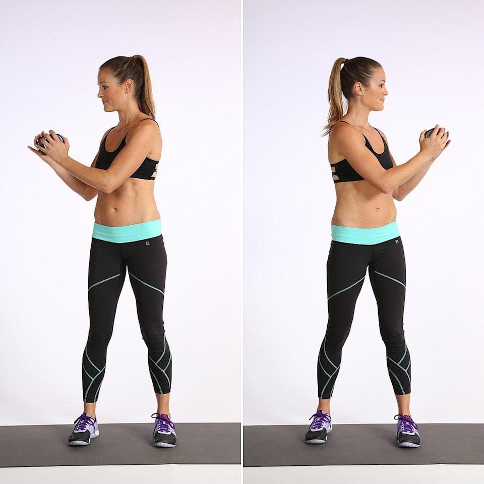 <p>Some call this move the flashlight, and we love it for the intense focus on the abs. Straighten your arms to increase the difficulty. Once you master the move, try speeding up.</p> <ul> <li>Stand with your knees slightly soft, holding a dumbbell at chest level.</li> <li>Keep your pelvis stable as you rotate your rib cage right and left, to complete one rep. Be sure to keep your abs pulled toward your spine as you twist from side to side.</li> </ul>