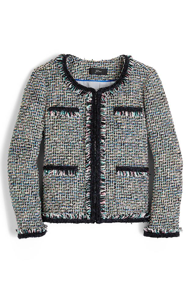 "<p><strong>J.Crew</strong></p><p>nordstrom.com</p><p><strong>$248.00</strong></p><p><a rel=""nofollow"" href=""https://shop.nordstrom.com/s/j-crew-lady-metallic-tweed-jacket/5202008"">Shop Now</a></p><p>Hints of metallic and pops of pastel make this demure jacket anything but boring. </p>"