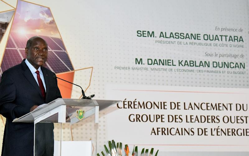Ivory Coast Prime Minister Daniel Kablan Duncan speaks during a ceremony to launch the group of West African energy leaders in Abidjan on June 30, 2015 (AFP Photo/Sia Kambou)