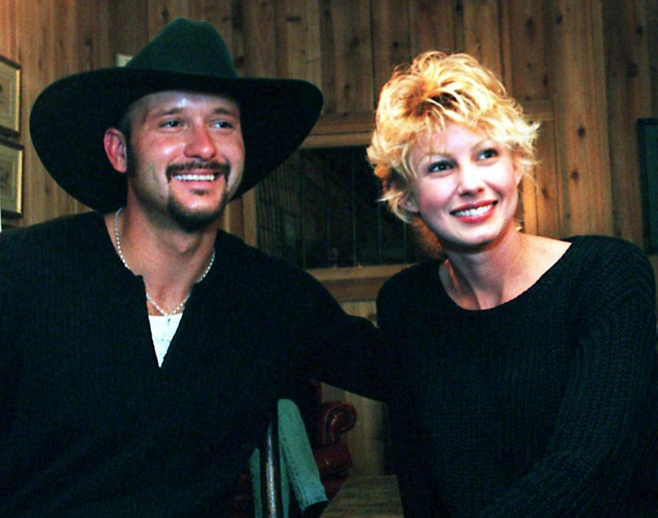 Hit-makers Tim McGraw and Faith Hill got married in 1996. Here, they give an interview at the Daisy Hill Barn Party in Franklin on Oct. 13, 1996. They were married on Oct. 6.