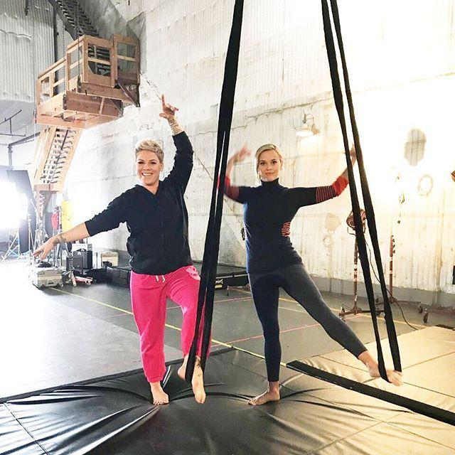 """<p>Reese once had P!nk teach her how to do aerial acrobatics and, yeah, she admitted she was a little freaked out. """"I was completely terrified,"""" she wrote on Instagram.</p><p><a href=""""https://www.instagram.com/p/Bla4OTSnilT/"""" rel=""""nofollow noopener"""" target=""""_blank"""" data-ylk=""""slk:See the original post on Instagram"""" class=""""link rapid-noclick-resp"""">See the original post on Instagram</a></p>"""