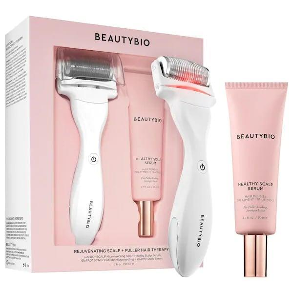 <p>This <span>BeautyBio Rejuvenating Scalp + Fuller Hair Therapy Set</span> ($249) includes a micro-needling tool with special scalp attachment and serum that all work together support your hair's natural growth cycle so your hair is healthier, fuller, and stronger when you're done.<br><br> Or, if you already have a GloPro Microneedling Tool, you can purchase this <span>BeautyBio GloPro SCALP MicroTip Attachment Head</span> ($55) separately instead.</p>