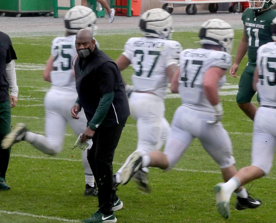 Michigan State head coach Mel Tucker on the field during the spring game Saturday, April 24, 2021 at Spartan Stadium in East Lansing.