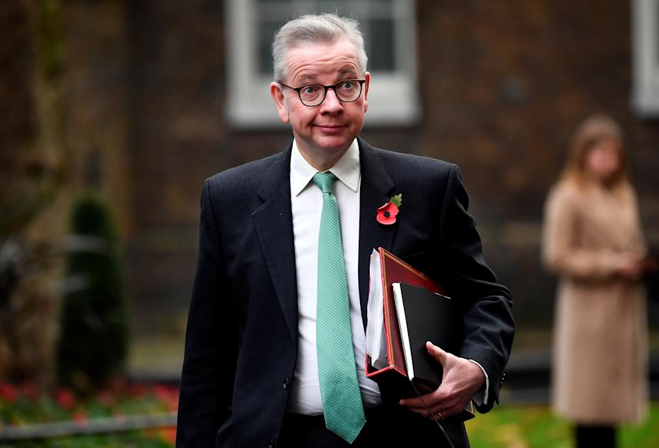 Britain's Chancellor of the Duchy of Lancaster Michael Gove arrives to attend a cabinet meeting at the Foreign and Commonwealth Office (FCO) in London, Britain November 10, 2020. REUTERS/Toby Melville