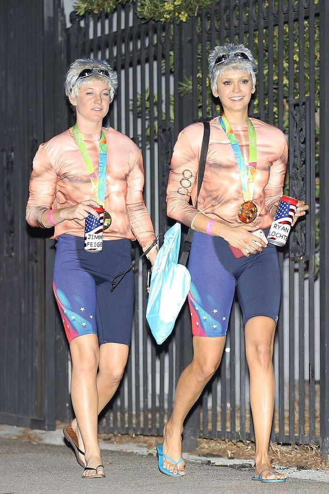 <p>Dobrev, right, had the same idea when she and a friend dressed as disgraced U.S. Olympic medalists Lochte and Jimmy Feigen. (Photo: AKM-GSI) </p>