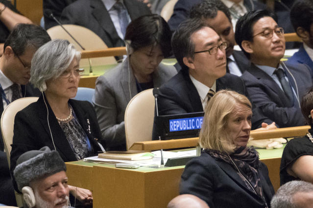 <p>South Korean President Moon Jae-in, left, listens as President Trump speaks during the 72nd session of the United Nations General Assembly at U.N. headquarters, Tuesday, Sept. 19, 2017. (Photo: Mary Altaffer/AP) </p>