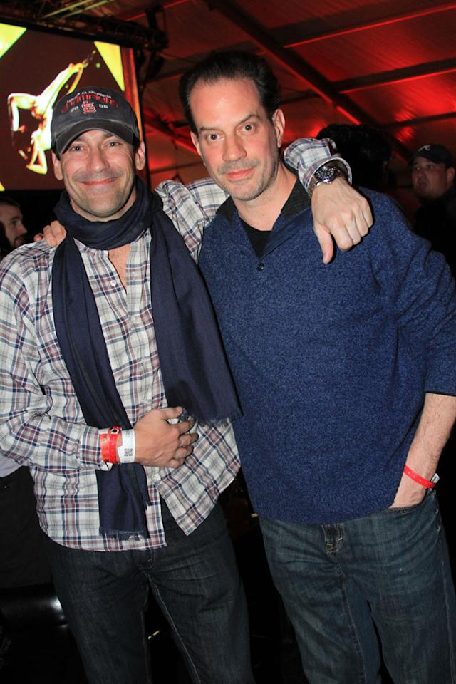 Jon Hamm and friend at the Playboy Party at the Bud Light Hotel in Indianapolis.