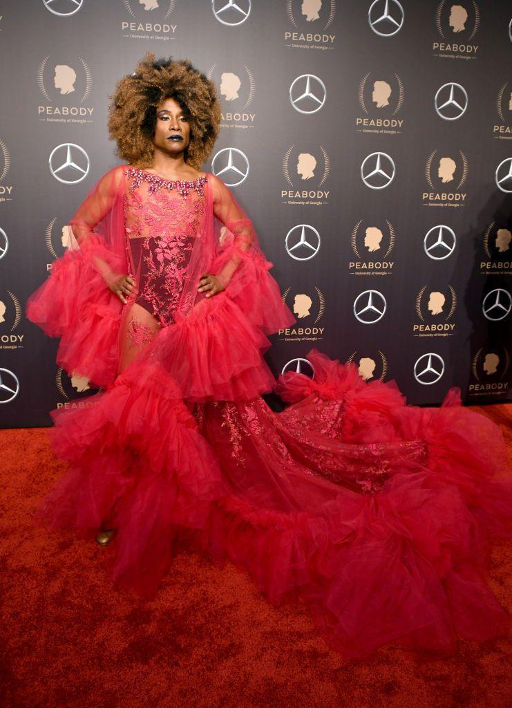 <p>Porter at the 78th annual Peabody Awards in a sheer hot-pink chiffon dress with floral embroideries. </p>