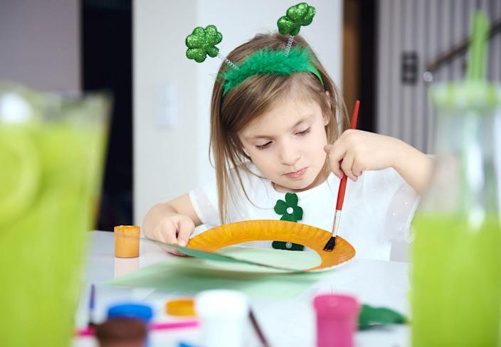 """<p>Get into the spirit by spending the day making these <a href=""""https://www.goodhousekeeping.com/holidays/g1019/st-patricks-day-crafts/"""" rel=""""nofollow noopener"""" target=""""_blank"""" data-ylk=""""slk:kid-friendly crafts"""" class=""""link rapid-noclick-resp"""">kid-friendly crafts</a>. When your little ones are happy with their shamrock wands, they can move on and make their own shamrock pins!</p><p><strong>RELATED: </strong><a href=""""https://www.goodhousekeeping.com/holidays/g1072/st-patricks-day-wreaths/"""" rel=""""nofollow noopener"""" target=""""_blank"""" data-ylk=""""slk:14 St. Patrick's Day Wreaths That'll Give Your Home Some Good Luck"""" class=""""link rapid-noclick-resp"""">14 St. Patrick's Day Wreaths That'll Give Your Home Some Good Luck</a> </p>"""