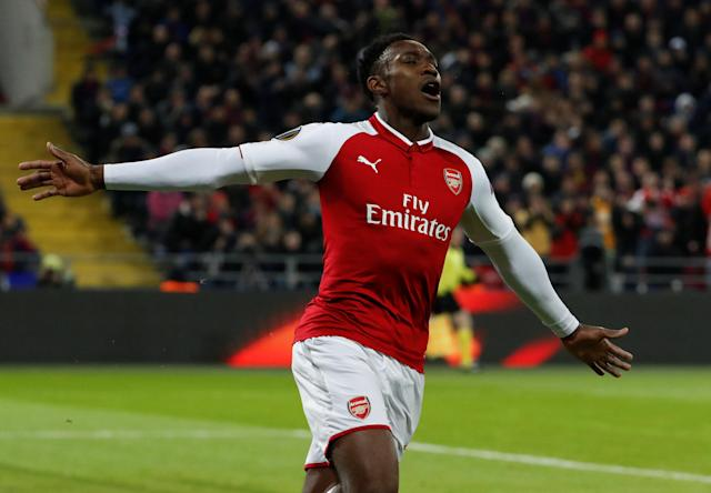 Danny Welbeck celebrates his goal that put Arsenal in control in its Europa League quarterfinal against CSKA Moscow. (Reuters)