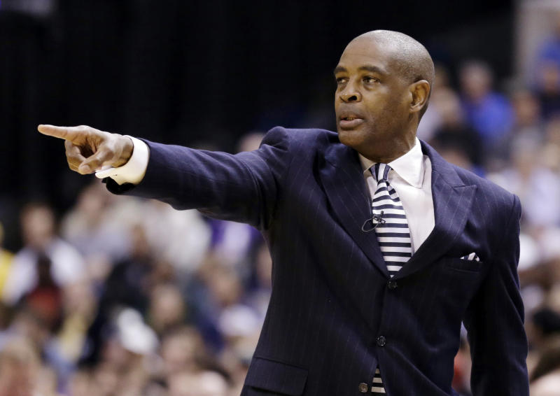 Atlanta Hawks head coach Larry Drew calls a play in the first half of Game 2 of a first-round NBA basketball playoff series against the Indiana Pacers in Indianapolis, Wednesday, April 24, 2013. (AP Photo/Michael Conroy)