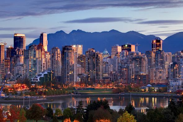 Mandatory Credit: Photo by Design Pics Inc/REX (1960285a)View of skyline with Yaletown, False Creek and North Shore Mountains, site of 2010 Winter Olympics, Vancouver, British ColumbiaVARIOUS