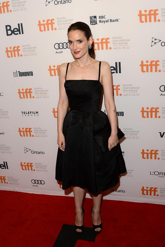 """BEST: Winona Ryder may be 40, but she didn't look it in this very pretty little black dress at the premiere of """"The Iceman."""""""
