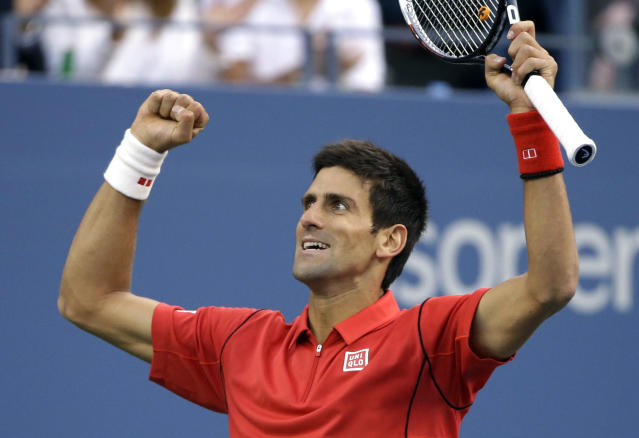 Novak Djokovic, of Serbia, reacts after a long point against Rafael Nadal, of Spain, during the men's singles final of the 2013 U.S. Open tennis tournament, Monday, Sept. 9, 2013, in New York. (AP Photo/David Goldman)