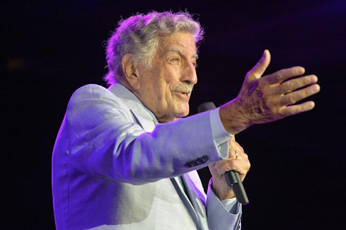 Tony Bennett performs on stage during an invitation only concert at the newly opened Encore Boston Harbor Casino in Everett, Massachusetts on August 8, 2019. (Photo by Joseph Prezioso / AFP via Getty Images)