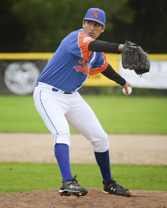 In this July 19, 2014, photo provided by the Hyannis Athletic Association, Hyannis ambidextrous pitcher Ryan Perez of Hampshire, Ill., pitches with his left hand against the Brewster Whitecaps at Stonybrook Field in Brewster, Mass. The 20-year-old ambidextrous pitcher from tiny Judson University has blossomed into a potential high-round pick for the 2015 draft with his performances this summer in the prestigious Cape Cod League. (AP Photo/Hyannis Athletic Association, Kelsey Grant)