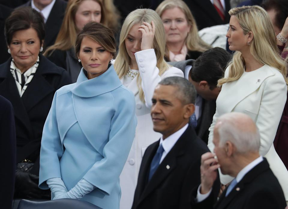 Melania looked far from thrilled on her husband's inaguration [Photo: Getty]